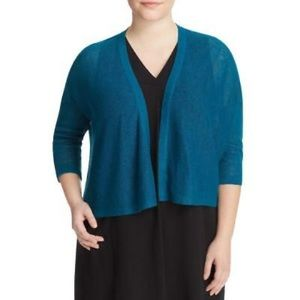 Eileen Fisher Linen Knit Open Front Cardigan Teal